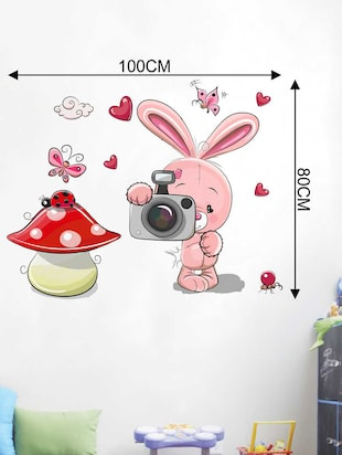 Rawpockets Wall Decals ' Rabbit and Camera' Wall Decal Sticker '  Wall stickers (PVC Vinyl) Multicolour - 15733476 - Standard Image - 2