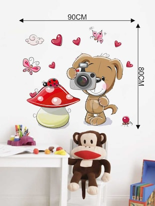 Rawpockets Wall Decals ' Dog and Camera' Wall Decal Sticker '  Wall stickers (PVC Vinyl) Multicolour - 15733479 - Standard Image - 2