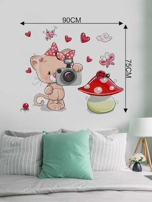 Rawpockets Wall Decals ' Cat and Mushroom' Wall Decal Sticker '  Wall stickers (PVC Vinyl) Multicolour - 15733480 - Standard Image - 2