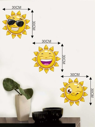 Rawpockets Wall Decals ' Sun Smileys' Wall Decal Sticker '  Wall stickers (PVC Vinyl) Multicolour - 15733481 - Standard Image - 2