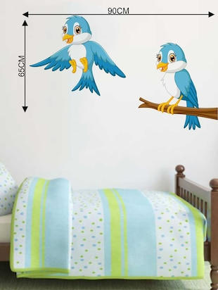 Rawpockets Wall Decals ' Bluish Birds' Wall Decal Sticker '  Wall stickers (PVC Vinyl) Multicolour - 15733482 - Standard Image - 2