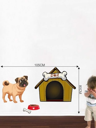 Rawpockets Wall Decals ' A Dog and A House' Wall Decal Sticker '  Wall stickers (PVC Vinyl) Multicolour - 15733492 - Standard Image - 2