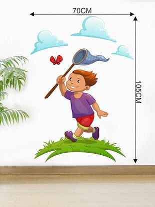 Rawpockets Wall Decals ' Boy Catching Butterfly' Wall Decal Sticker '  Wall stickers (PVC Vinyl) Multicolour - 15733495 - Standard Image - 2