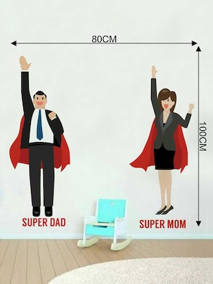 Rawpockets Wall Decals ' Super Mom & Dad' Wall Decal Sticker '  Wall stickers (PVC Vinyl) Multicolour - 15733496 - Standard Image - 2