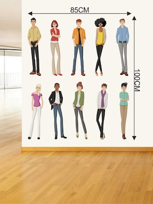 Rawpockets Wall Decals ' Different Ethnic People' Wall Decal Sticker '  Wall stickers (PVC Vinyl) Multicolour - 15733499 - Standard Image - 2