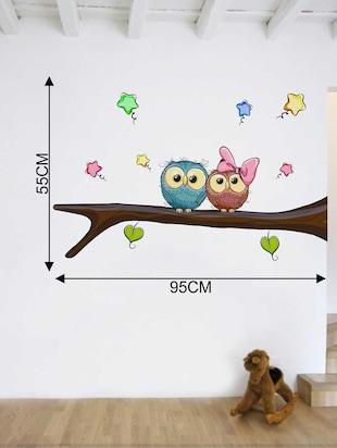Rawpockets Wall Decals ' Owl Pair' Wall Decal Sticker '  Wall stickers (PVC Vinyl) Multicolour - 15733509 - Standard Image - 2