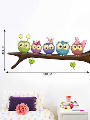 Rawpockets Wall Decals ' Owl Family on Tree' Wall Decal Sticker '  Wall stickers (PVC Vinyl) Multicolour - 15733510 - Standard Image - 2