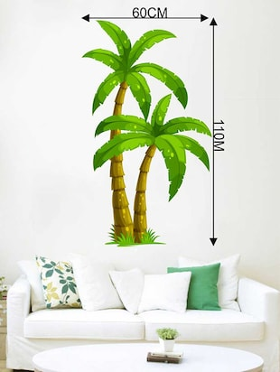 Rawpockets Wall Decals ' Palm Trees' Wall Decal Sticker '  Wall stickers (PVC Vinyl) Multicolour - 15733521 - Standard Image - 2