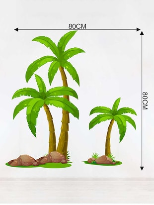 Rawpockets Wall Decals ' Palm Trees Story' Wall Decal Sticker '  Wall stickers (PVC Vinyl) Multicolour - 15733524 - Standard Image - 2