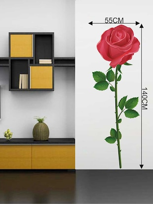 Rawpockets Wall Decals '  The Red Rose ' Wall Decal Sticker '  Wall stickers (PVC Vinyl) Multicolour - 15733527 - Standard Image - 2