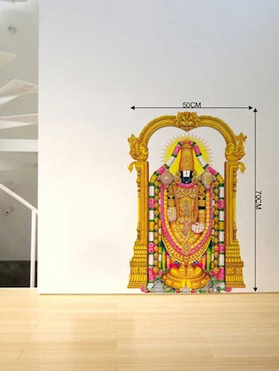 Rawpockets Wall Decals ' Lord Tirupathi Balaji '  Wall stickers (PVC Vinyl) Multicolour - 15733546 - Standard Image - 2