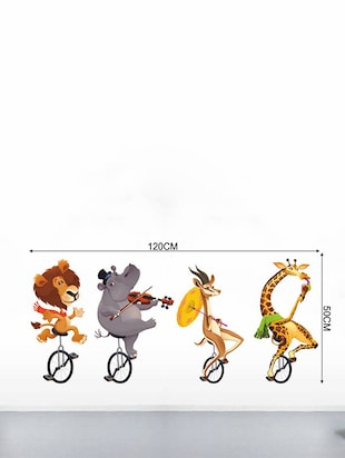 Rawpockets Wall Decals ' Wild Animals Cycling '  Wall stickers (PVC Vinyl) Multicolour - 15733553 - Standard Image - 2