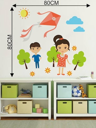 Rawpockets Wall Decals ' Kids Playing Kite '  Wall stickers (PVC Vinyl) Multicolour - 15733559 - Standard Image - 2