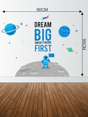 Rawpockets Wall Decals ' Dream Big on Galaxy '  Wall stickers (PVC Vinyl) Multicolour - 15733570 - Standard Image - 2