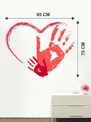 Rawpockets Wall Decals ' Red Heart-In Wall Sticker '  Wall stickers (PVC Vinyl) Multicolour - 15733577 - Standard Image - 2