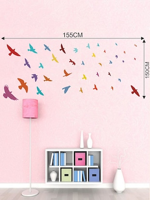 Rawpockets Wall Decals ' United Colors of Birds Wall Sticker '  Wall stickers (PVC Vinyl) Multicolour - 15733601 - Standard Image - 2