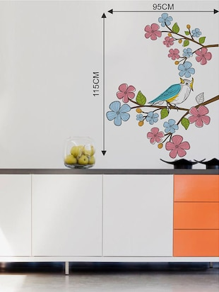 Rawpockets Wall Decals ' Multi Color Flower n Bird Wall Sticker '  Wall stickers (PVC Vinyl) Multicolour - 15733602 - Standard Image - 2