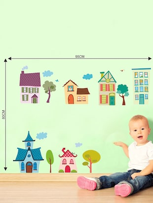 Rawpockets Wall Decals ' House Wall Sticker '  Wall stickers (PVC Vinyl) Multicolour - 15733616 - Standard Image - 2