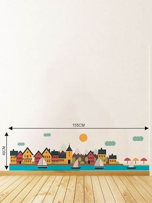 Rawpockets Wall Decals ' Coastal City Wall Sticker '  Wall stickers (PVC Vinyl) Multicolour - 15733626 - Standard Image - 2