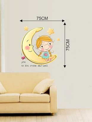 Rawpockets Wall Decals ' Moon and Back Love Wall Sticker '  Wall stickers (PVC Vinyl) Multicolour - 15733647 - Standard Image - 2