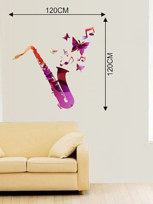 Rawpockets Wall Decals ' Trumpet and Butterfly Wall Sticker '  Wall stickers (PVC Vinyl) Multicolour - 15733648 - Standard Image - 2