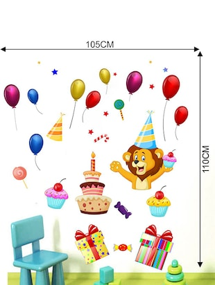 Rawpockets Wall Decals ' Lion and Celebrations Wall Sticker '  Wall stickers (PVC Vinyl) Multicolour - 15733657 - Standard Image - 2