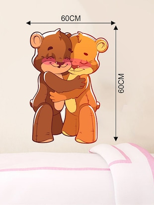 Rawpockets Wall Decals ' Teddy Bear Hug Wall Sticker '  Wall stickers (PVC Vinyl) Multicolour - 15733665 - Standard Image - 2