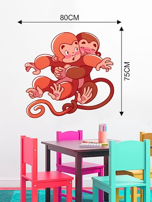 Rawpockets Wall Decals ' Cute Monkeys Hug Wall Sticker '  Wall stickers (PVC Vinyl) Multicolour - 15733668 - Standard Image - 2