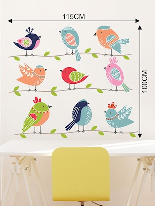 Rawpockets Wall Decals ' Cute Birds Family Wall Sticker '  Wall stickers (PVC Vinyl) Multicolour - 15733672 - Standard Image - 2