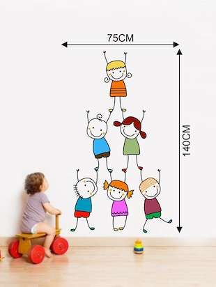 Rawpockets Wall Decals ' Kids Pencil Drawing Wall Sticker '  Wall stickers (PVC Vinyl) Multicolour - 15733687 - Standard Image - 2