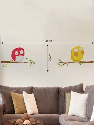 Rawpockets Wall Decals ' Yellow and Red Owl Wall Sticker '  Wall stickers (PVC Vinyl) Multicolour - 15733691 - Standard Image - 2