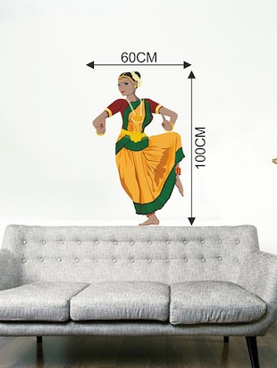 Rawpockets Wall Decals ' Indian Classical Dancer Wall Sticker '  Wall stickers (PVC Vinyl) Multicolour - 15733700 - Standard Image - 2