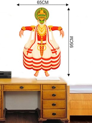 Rawpockets Wall Decals ' Kathakali Dance Wall Sticker '  Wall stickers (PVC Vinyl) Multicolour - 15733708 - Standard Image - 2