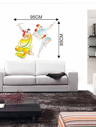 Rawpockets Wall Decals ' Dandiya Dance Wall Sticker '  Wall stickers (PVC Vinyl) Multicolour - 15733717 - Standard Image - 2