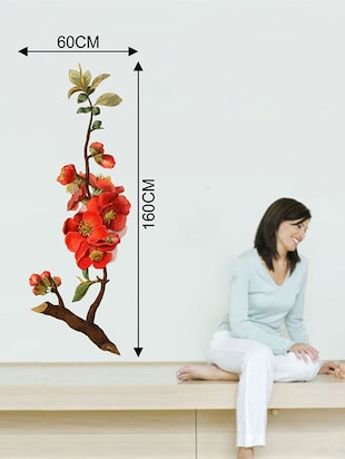 Rawpockets Wall Decals ' Red Flower Tree '  Wall stickers (PVC Vinyl) Multicolour - 15733728 - Standard Image - 2