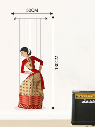 Rawpockets Wall Decals ' Bihu Puppet Dance '  Wall stickers (PVC Vinyl) Multicolour - 15733732 - Standard Image - 2