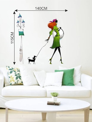 Rawpockets Wall Decals ' Lady with Dog '  Wall stickers (PVC Vinyl) Multicolour - 15733753 - Standard Image - 2