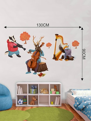 Rawpockets Wall Decals ' Animals Music Troops '  Wall stickers (PVC Vinyl) Multicolour - 15733760 - Standard Image - 2