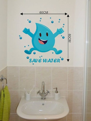 Rawpockets Wall Decals ' Save Water Emoticon '  Wall stickers (PVC Vinyl) Multicolour - 15733768 - Standard Image - 2