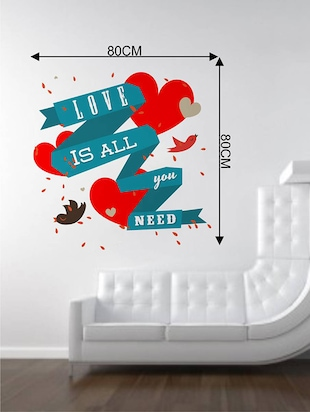 Rawpockets Wall Decals ' Love is All We Need '  Wall stickers (PVC Vinyl) Multicolour - 15733772 - Standard Image - 2