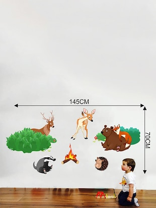 Rawpockets Wall Decals ' Jungle Story '  Wall stickers (PVC Vinyl) Multicolour - 15733774 - Standard Image - 2