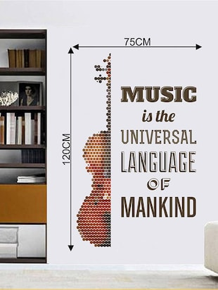 Rawpockets Wall Decals ' Music Quote and Guitar '  Wall stickers (PVC Vinyl) Multicolour - 15733776 - Standard Image - 2