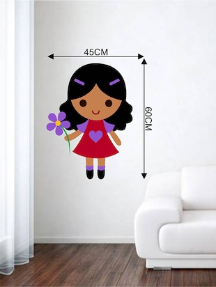Rawpockets Wall Decals ' Cute Girl with Flower '  Wall stickers (PVC Vinyl) Multicolour - 15733787 - Standard Image - 2