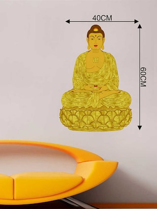 Rawpockets Wall Decals ' God Buddha Meditation '  Wall stickers (PVC Vinyl) Multicolour - 15733793 - Standard Image - 2