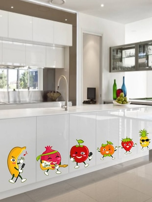 Rawpockets Wall Decals ' Fruits Cartoon '  Wall stickers (PVC Vinyl) Multicolour - 15733818 - Standard Image - 2