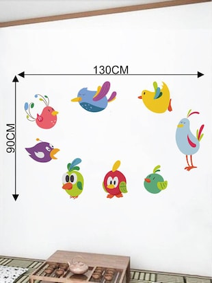 Rawpockets Wall Decals ' Lovely Birds Cartoon '  Wall stickers (PVC Vinyl) Multicolour - 15733823 - Standard Image - 2