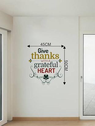 Rawpockets Wall Decals ' Give Thanks With a Greatful Heart - Quote '  Wall stickers (PVC Vinyl) Multicolour - 15733832 - Standard Image - 2