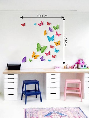 Rawpockets Wall Decals ' Living Room : Colorful Butterfly '  Wall stickers (PVC Vinyl) Multicolour - 15733834 - Standard Image - 2