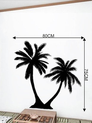 Rawpockets Wall Decals ' Twin Coconut Tree Black '  Wall stickers (PVC Vinyl) Multicolour - 15733835 - Standard Image - 2