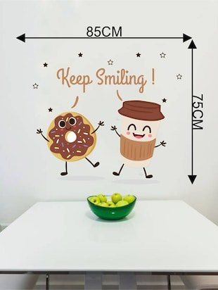 Rawpockets Wall Decals ' Kitchen Room : Keep Smiling '  Wall stickers (PVC Vinyl) Multicolour - 15733842 - Standard Image - 2